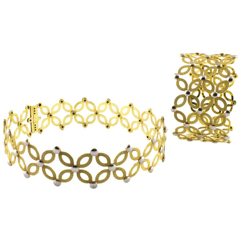 Parure Signed Chimento in 18KT Yellow Gold and White Gold Studs