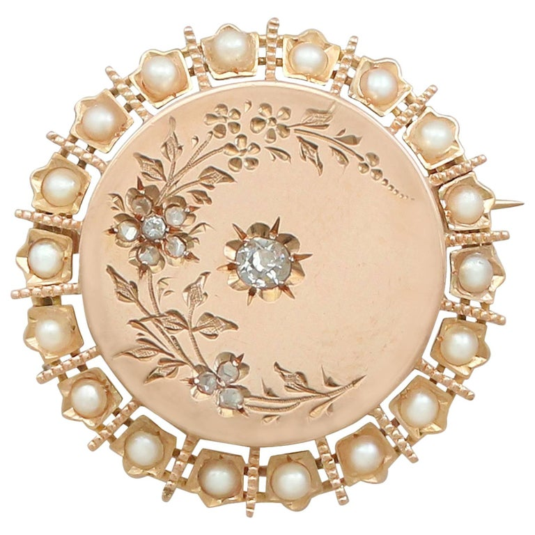 Antique French Seed Pearl and Diamond 18k Yellow Gold Brooch For Sale