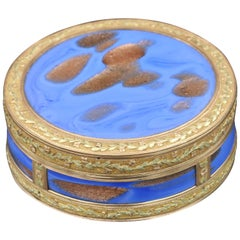 18th Century French Gold and Aventurine Glass Bbox by Jean-Henri Clément