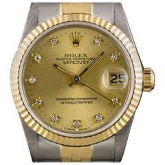 Rolex Datejust MidSize Steel & Gold Champagne Diamond Dial 68273 Automatic Watch