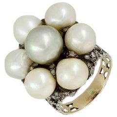 Buccellati Pearls Ring in 18 Carat Gold, Diamonds and Pearls