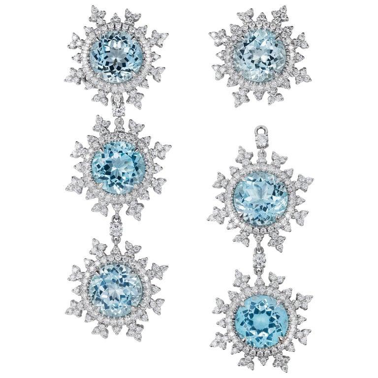 Nadine Aysoy 18 Karat White Gold and Light Blue Topaz and Diamond Long Earrings