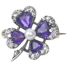 Antique Amethyst and Diamond Four-Leaf Clover Brooch