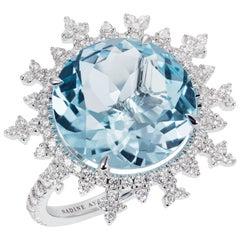 Nadine Aysoy 18K White Gold, Light Blue Topaz and Diamond Cocktail Ring