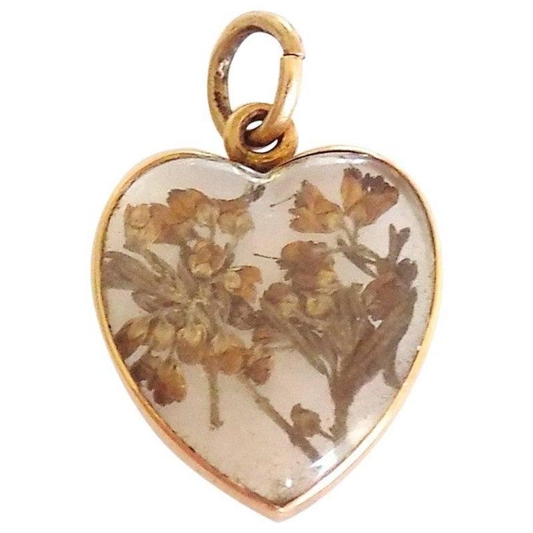 Victorian Gold Heart Locket Pendant