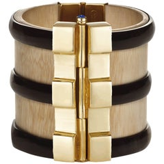Fouche Cuff Bracelet Art Deco Gold Bespoke Horn Sapphire Emerald Ruby