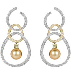 18 Karat Gold and White Diamond, Yellow Beryl and Pearl Hoop Dangle Earrings