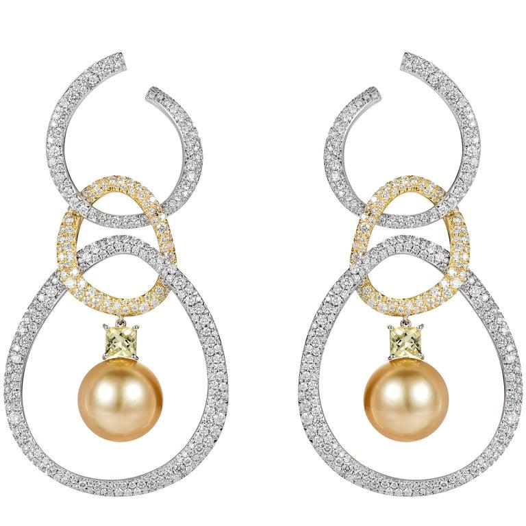 18 Karat Gold and White Diamond, Yellow Beryl and Pearl Hoop Dangle Earrings