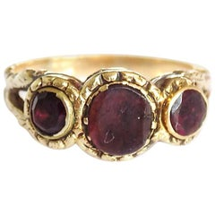 Georgian Gold Flat Cut Garnet Ring