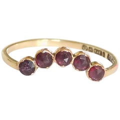 Georgian Gold Rose Cut Garnet Wishbone Ring