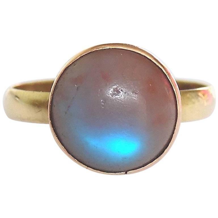 Victorian Gold Saphiret Cabochon Ring