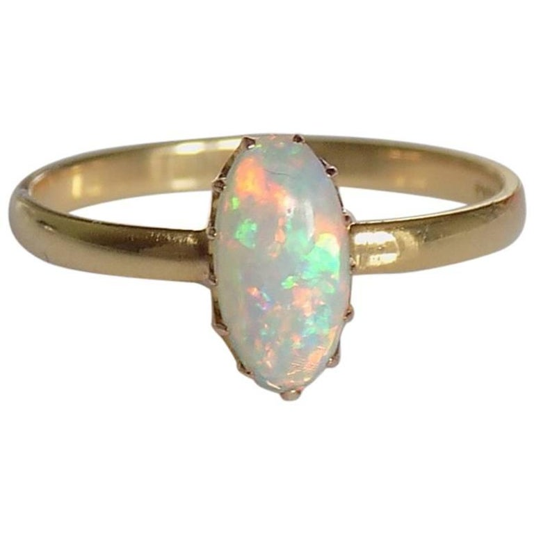 18K Victorian Opal Gold Solitaire Ring
