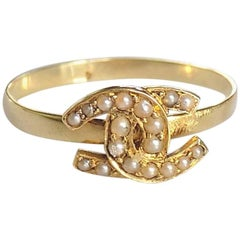 Victorian Gold Pearl Double Horseshoe Good Luck Ring