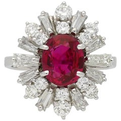 Ruby and Diamond Coronet Cluster Ring, circa 1970
