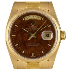 Rolex Yellow Gold Day-Date Bark Finish Wood Dial Automatic Wristwatch Ref 18078
