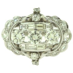 Antique Round and Baguette Diamond Cluster White Gold 18k Ring