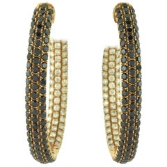 White and Black Diamonds 'Inside Out' Rose Gold Hinged Hooped Earrings 12 Carats