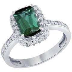 2.29 Carat Green Tourmaline Diamond White Gold Engagement Ring