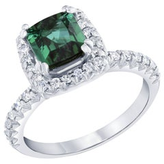 Green Tourmaline and Diamond Ring 14K White Gold