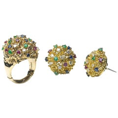 Ruby Sapphire Emerald Diamond Earrings and Ring