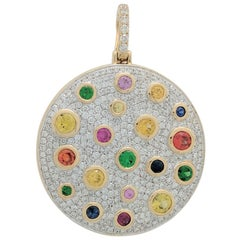 Sonia B 14K Yellow Gold Multi Sapphire Diamond Scattered Disk Pendant Necklace