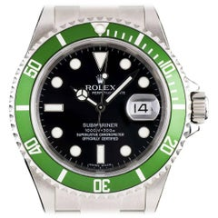 Rolex Stainless Steel Submariner Date Black Dial Green Bezel Automatic Watch
