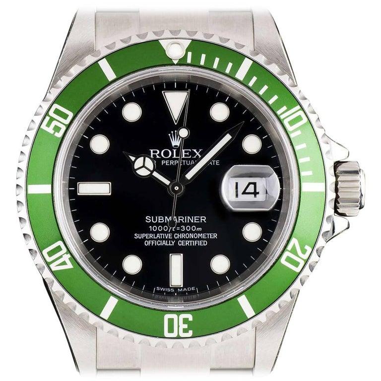 Rolex Submariner Date Steel Black Dial Green Bezel 16610LV Automatic Wristwatch