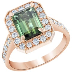 3.03 Carat Emerald Cut Green Tourmaline Diamond Bridal Rose Gold Ring