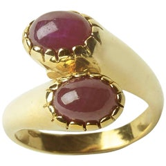 Two-Stone Ruby Crossover Ring