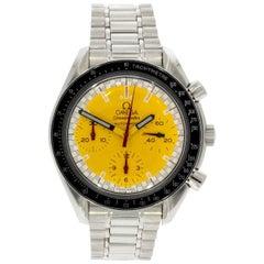 "Omega Stainless Steel Speedmaster ""Schumacher"" Yellow Dial Wristwatch"
