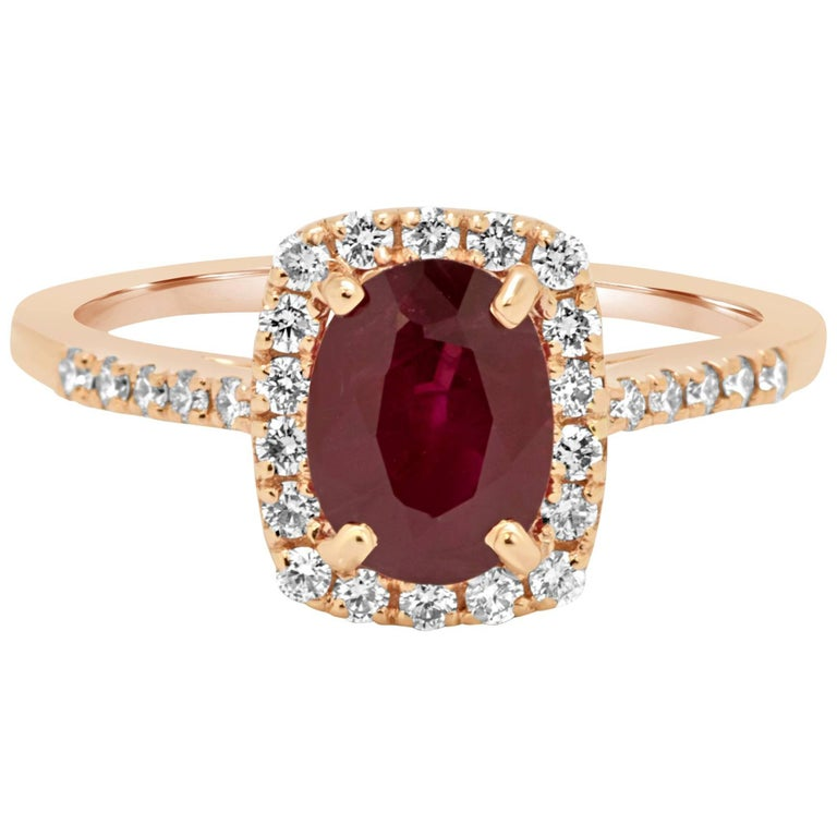 Ruby Diamond Halo Gold Ring