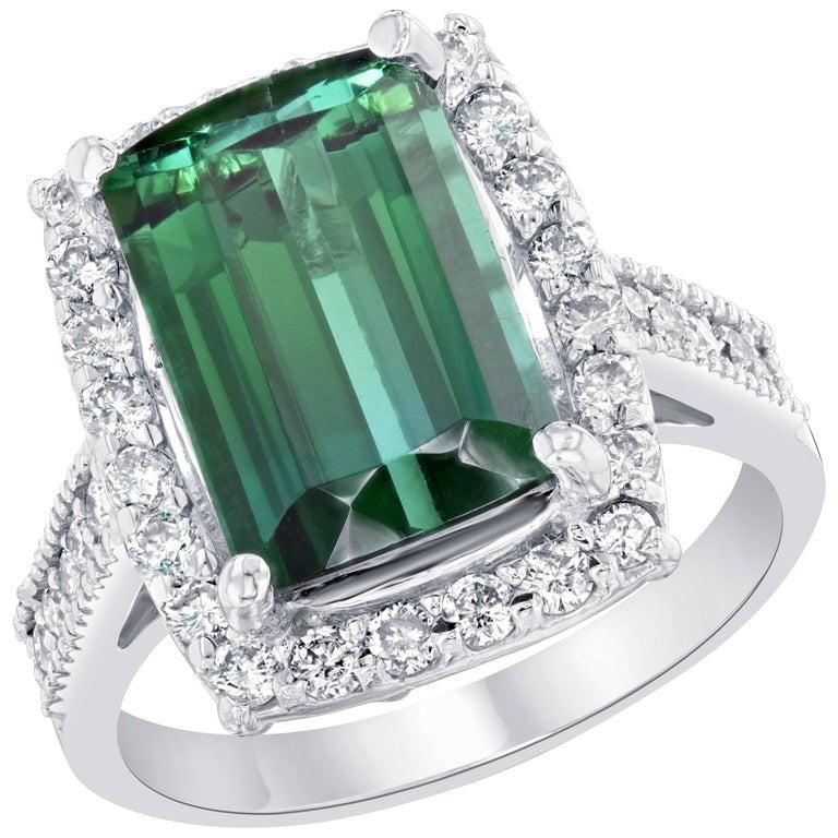 Green Tourmaline and Diamond Ring 14K White Gold