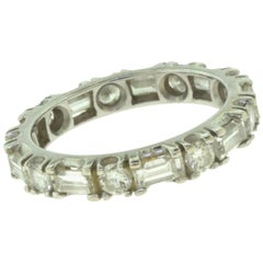 Round and Baguette Diamond Eternity Wedding White Gold Band, 2.13 TCW