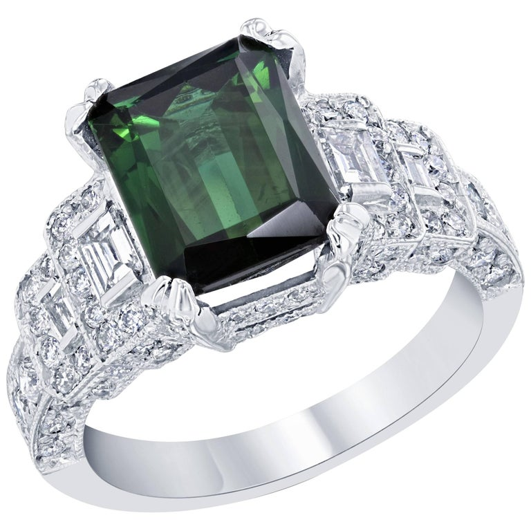 5.01 Carat Green Tourmaline and Diamond Ring 14K White Gold