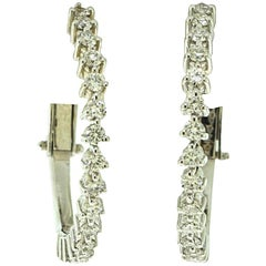 Roberto Coin Pave Diamond Hoop Earrings in 18 Karat White Gold, 1.16 Carat