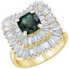 Green Tourmaline and Diamond Ring 14K Yellow Gold
