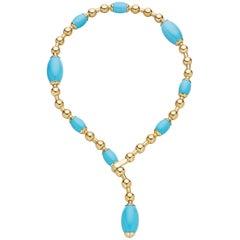 Faraone Mennella Turquoise Gold Tuka Tuka Necklace