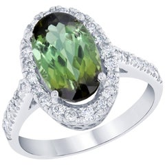 3.79 Carat Oval Cut Green Tourmaline Diamond Bridal White Gold Ring