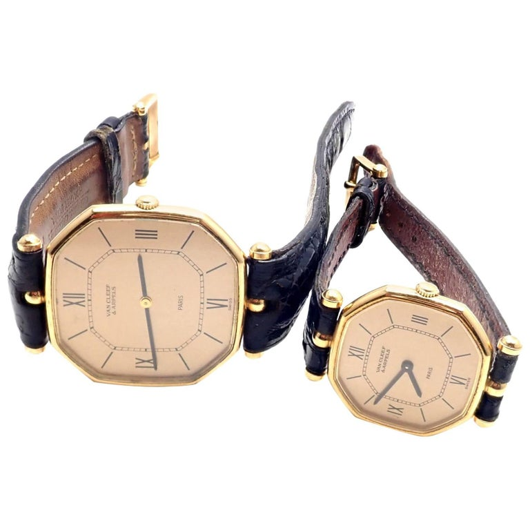 Van Cleef & Arpels Jaeger Lecoultre His And Hers  Set  Gold Wristwatches For Sale
