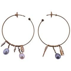 Louis Vuitton Monogram Charm Pearl Gold Hoop Earrings