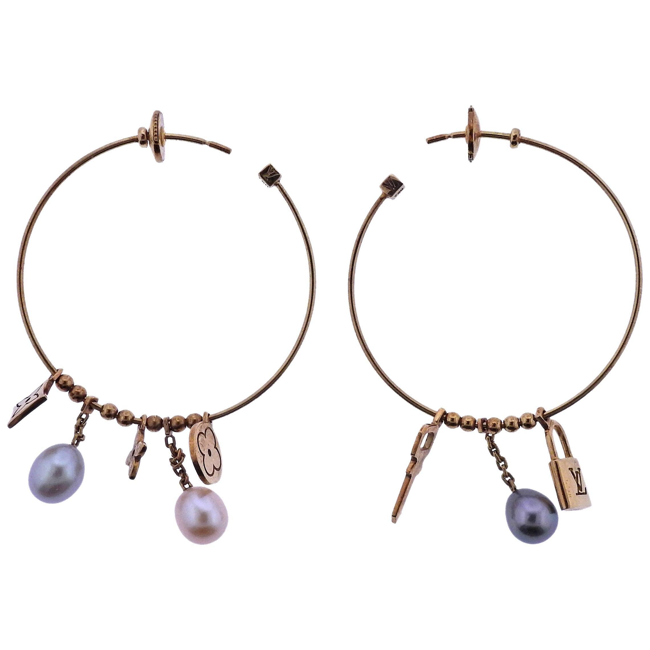 870f9debe35 Louis Vuitton Monogram Charm Pearl Gold Hoop Earrings at 1stdibs