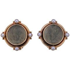 Elizabeth Locke Venetian Glass Intaglio Pearl Gold Earrings