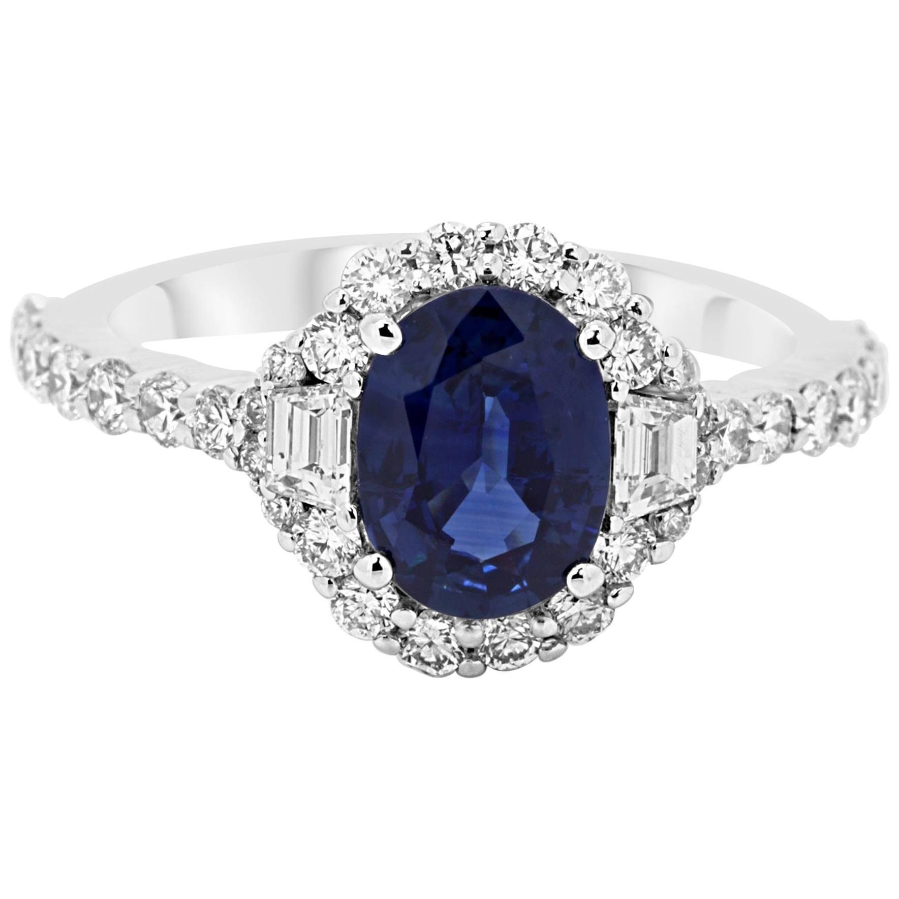 Sapphire Oval White Diamond Halo Gold Three Stone Bridal Fashion Cocktail Ring
