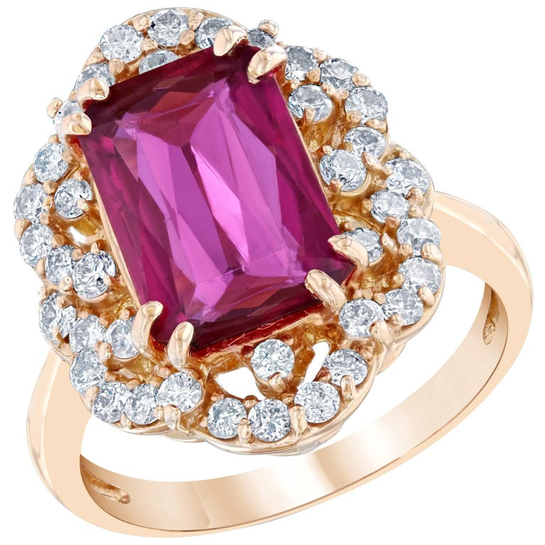 3.83 Carat Pink Tourmaline and Diamond Ring 14K Rose Gold