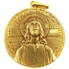 Art Nouveau 18 Karat Yellow Gold Jesus Medallion Pendant