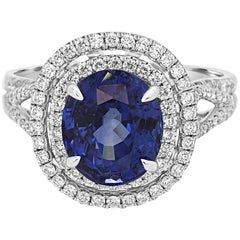 Gia Certified 4.30 Carat Blue Sapphire Diamond Double Halo Gold Ring