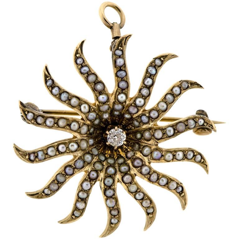 Pretty Victorian Diamond Pearl and Yellow Gold Sunburst Brooch, circa 1900