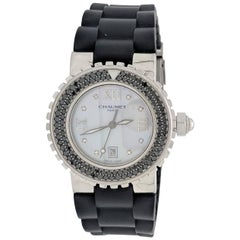 Chaumet Paris Ladies Stainless Steel Class One Black Diamond Quartz Wristwatch