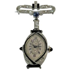 Vintage 14K White Gold, Diamond, Onyx and Sapphire Lapel Watch Pin