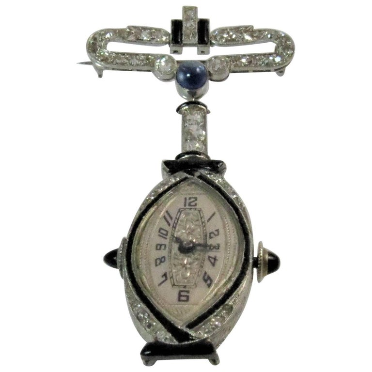 Vintage 14K White Gold, Diamond, Onyx and Sapphire Lapel Watch Pin
